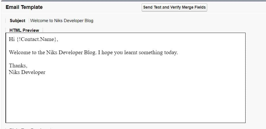 Email Template in Salesforce