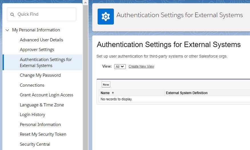 Authentication Settings for External Systems