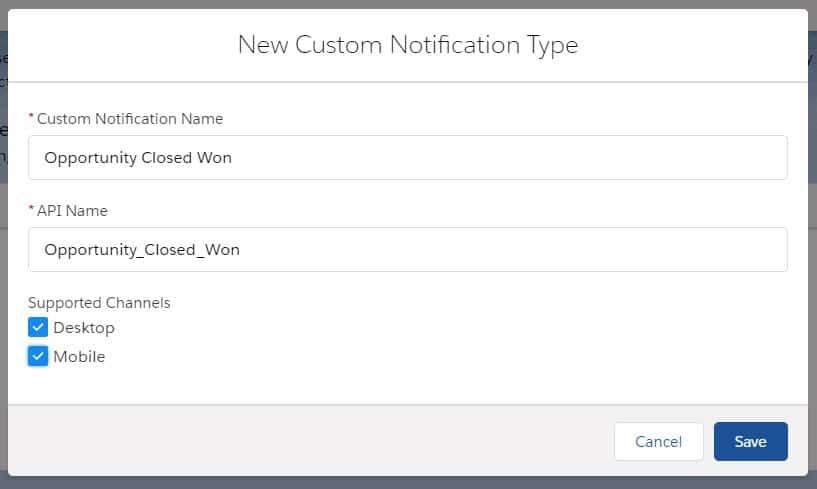 Custom Notification Type in Salesforce