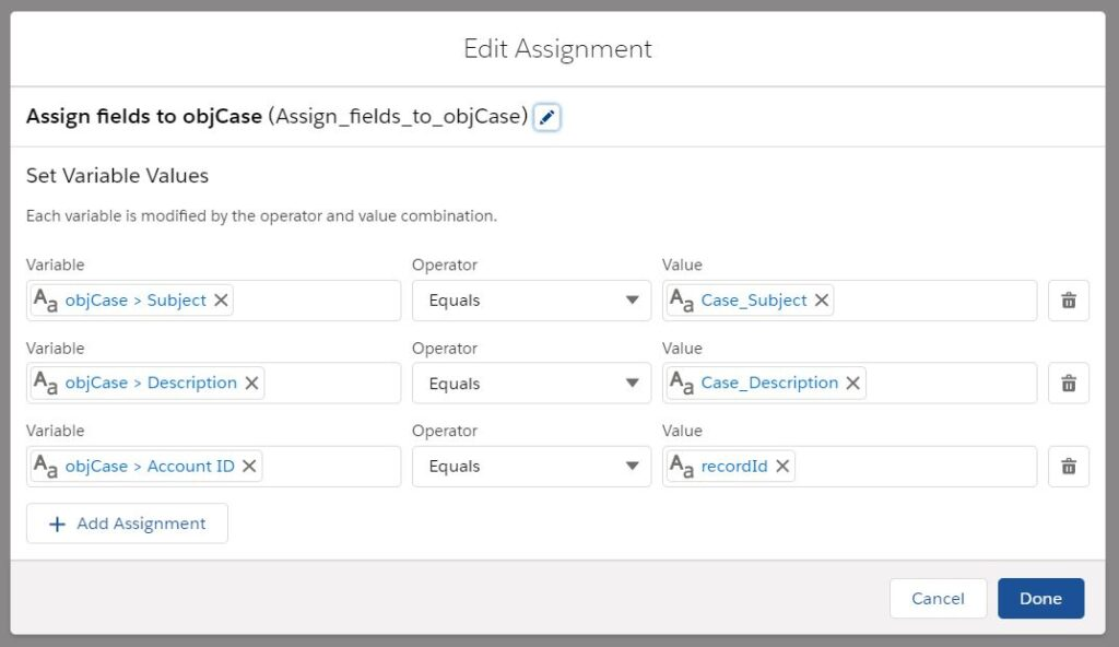 Create Record using Flow: Assignment Element