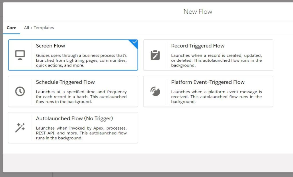 Different types of Flows in Salesforce