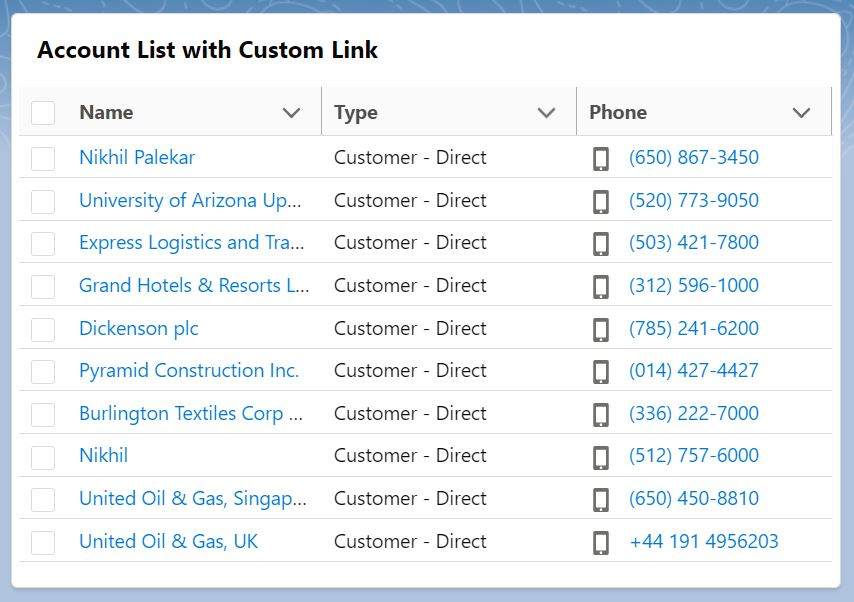 Custom Link in LWC Datatable