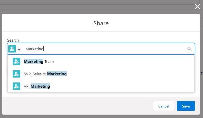 Roles Are Visible While Sharing Records Manually