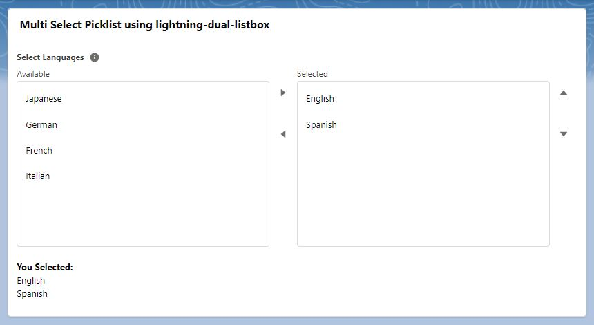Multi-select Picklist in LWC using lightning-dual-listbox